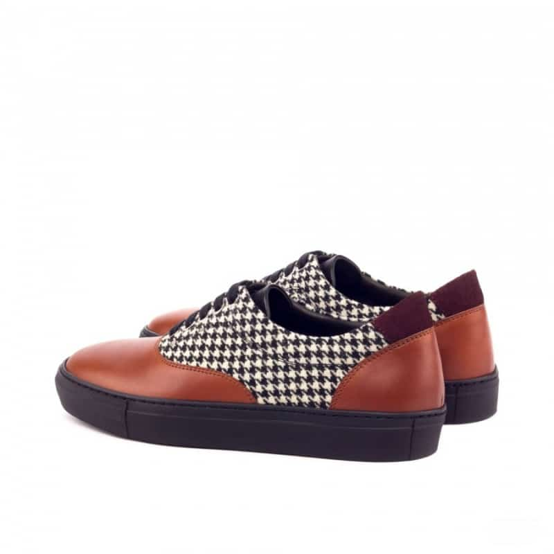 Custom Made Top Sider in Cognac Box Calf and Houndstooth Wool with Burgundy Luxe Suede and Black Painted Calf