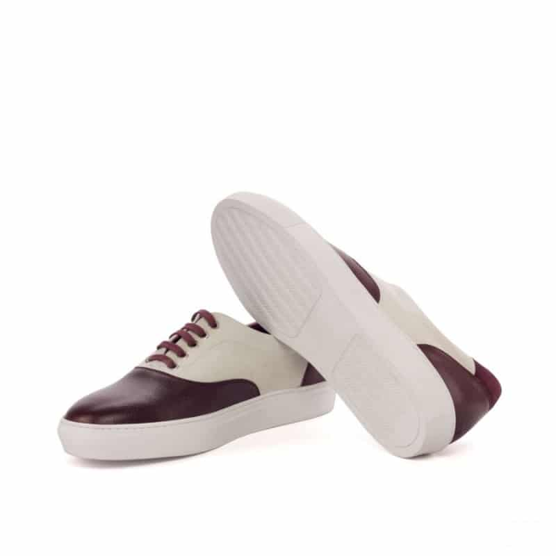 Custom Made Top Sider in White and Wine Kid Suede with Burgundy Painted Full Grain Leather