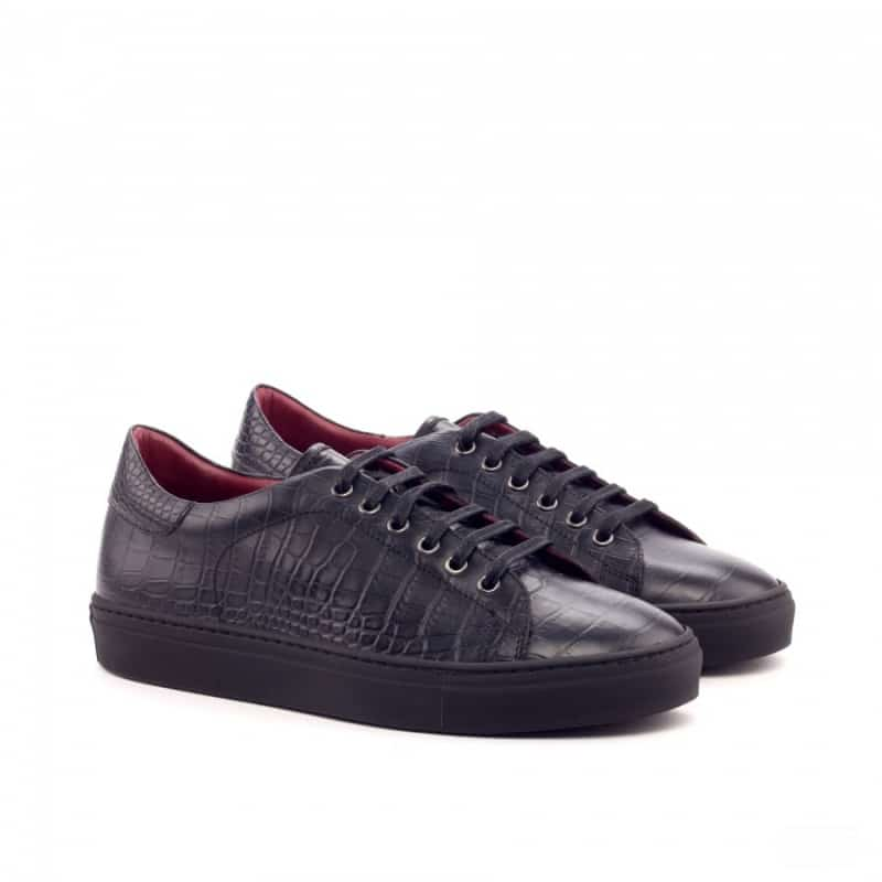 Custom Made Trainers in Black Croco Embossed and Painted Calf Leather - Robert August Apparel