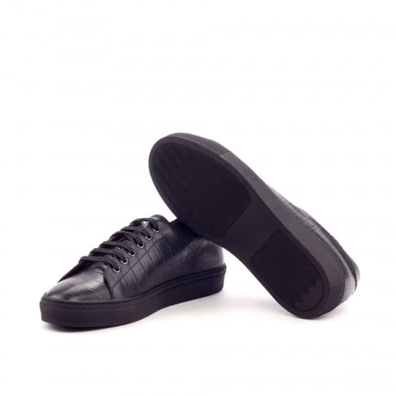 Custom Made Trainers in Black Croco Embossed and Painted Calf Leather