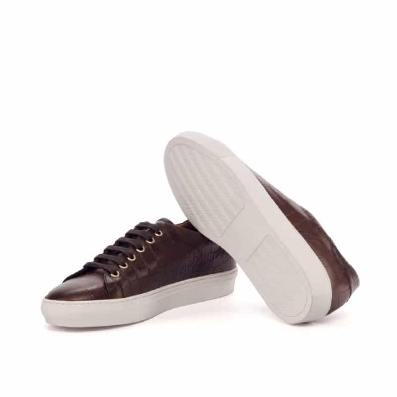 Custom Made Trainers in Brown Croco and Dark Brown Box Calf Leather