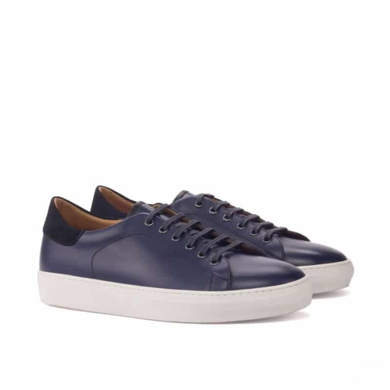 Custom Made Trainers in Navy Blue Box Calf and Luxe Suede with Black Painted Calf Leather
