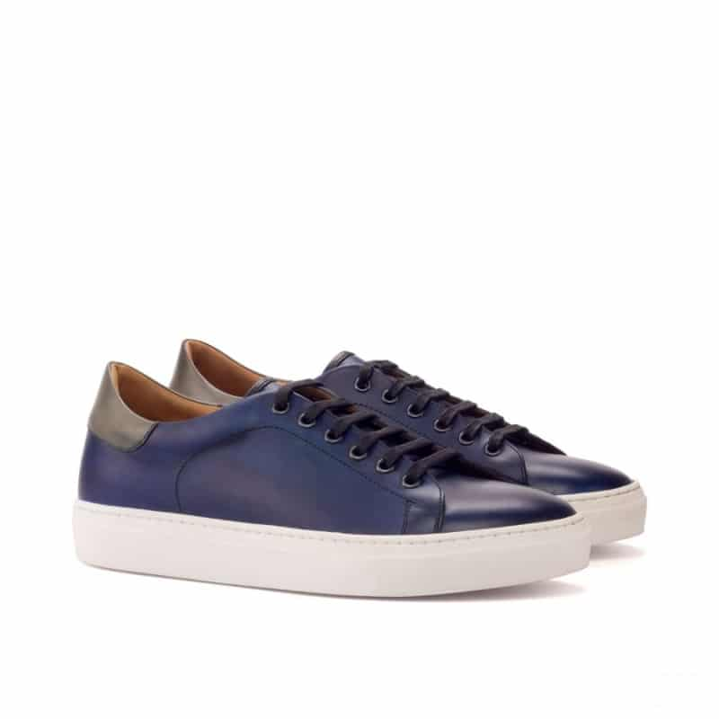 Custom Made Trainers in Navy Blue, Grey and Black Painted Calf Leather