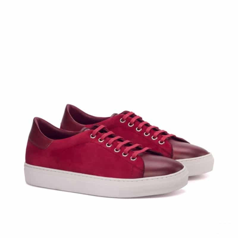 Custom Made Trainers in Red Kid Suede