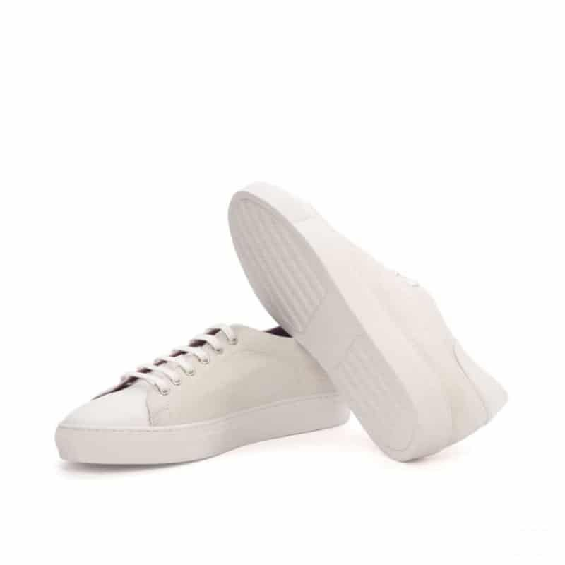 Custom Made Trainers in White Kid Suede and Box Calf Leather