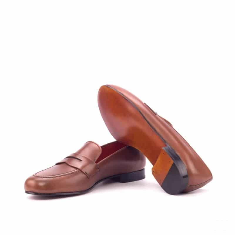 Custom Made Wellington Slippers in Medium Brown Painted Calf Leather