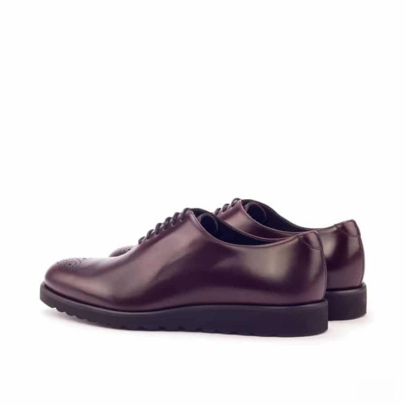 Custom Made Whole Cut Dress Shoes in Burgundy Polished Calf and Painted Calf Leather