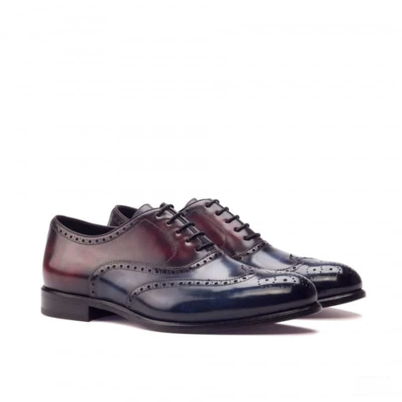 Custom Made Wingtips in Italian Raw Crust Leather with Burgundy and Denim Blue Hand Patina Finish