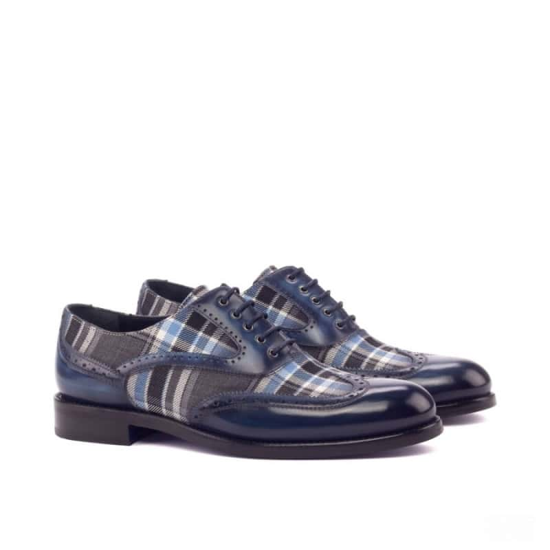 Custom Made Woman's Full Brogues in Italian Raw Crust Leather a Denim Hand Patina and Plaid Sartorial