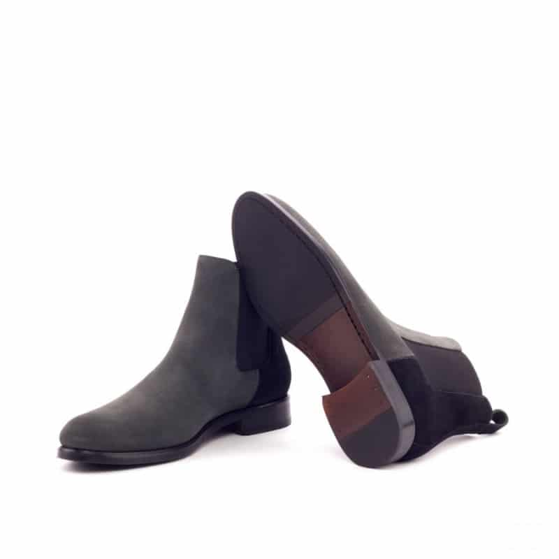 Custom Made Women's Chelsea Boot in Black and Grey Luxe Suede