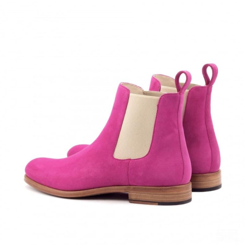 Custom Made Women's Chelsea Boot in Fuchsia Kid Suede