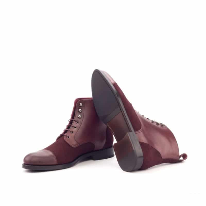 Custom Made Women's Lace Up Captoe Boot in Burgundy Luxe Suede and Painted Calf Leather