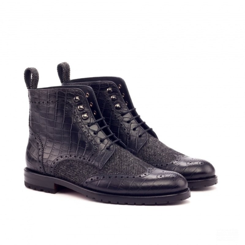 Custom Made Women's Military Brogue Boot in Black Croco and Nailhead Wool
