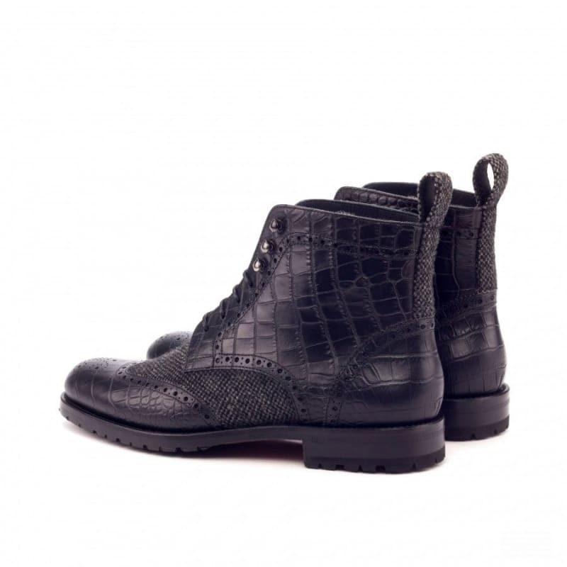 Custom Made Women's Military Brogue Boot in Black Croco and Nailhead Wool