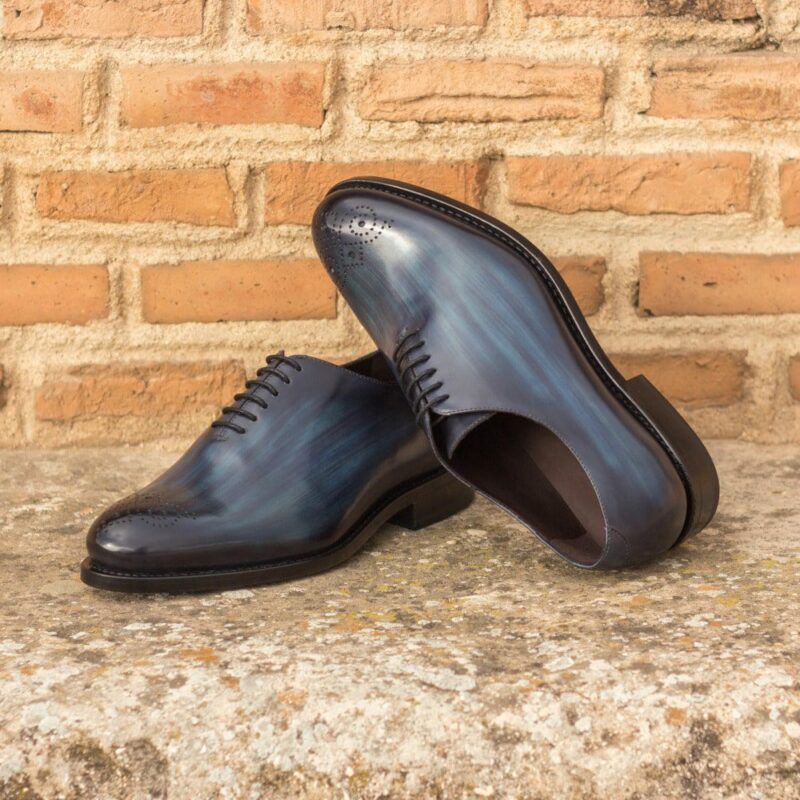 Custom Made Men's Goodyear Welt Wholecut Dress Shoes in Italian Calf Leather with a Denim Hand Patina