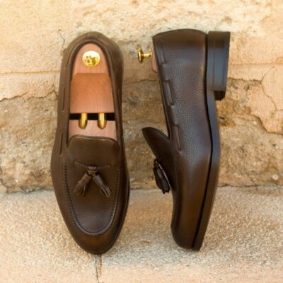 Custom Made Men's Goodyear Welted Loafers in Dark Brown Painted Full Grain Leather