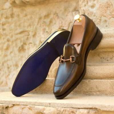 Custom Made Men's Goodyear Welted Loafers in Italian Calf Leather with a Brown Hand Patina