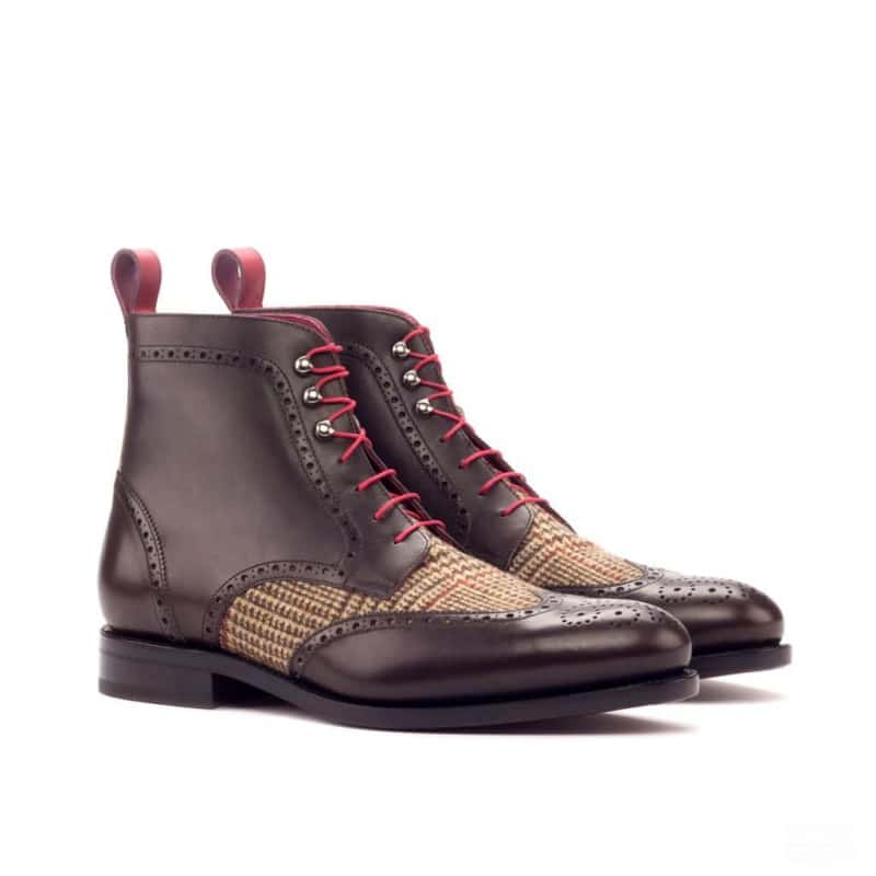 Custom Made Goodyear Welt Military Brogue Boot in Dark Brown and Red Painted Calf Leather with Tweed