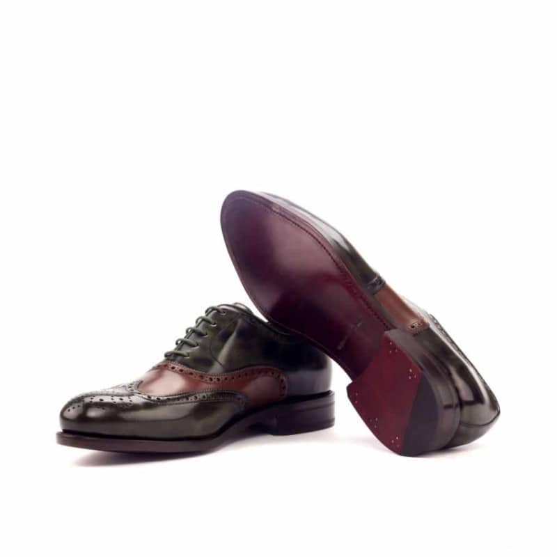 Custom Made Goodyear Welt Wingtips in Green and Medium Brown Polished Calf Leather