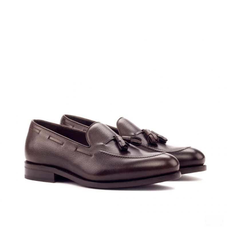 Custom Made Goodyear Welted Loafers in Dark Brown Painted Full Grain Leather