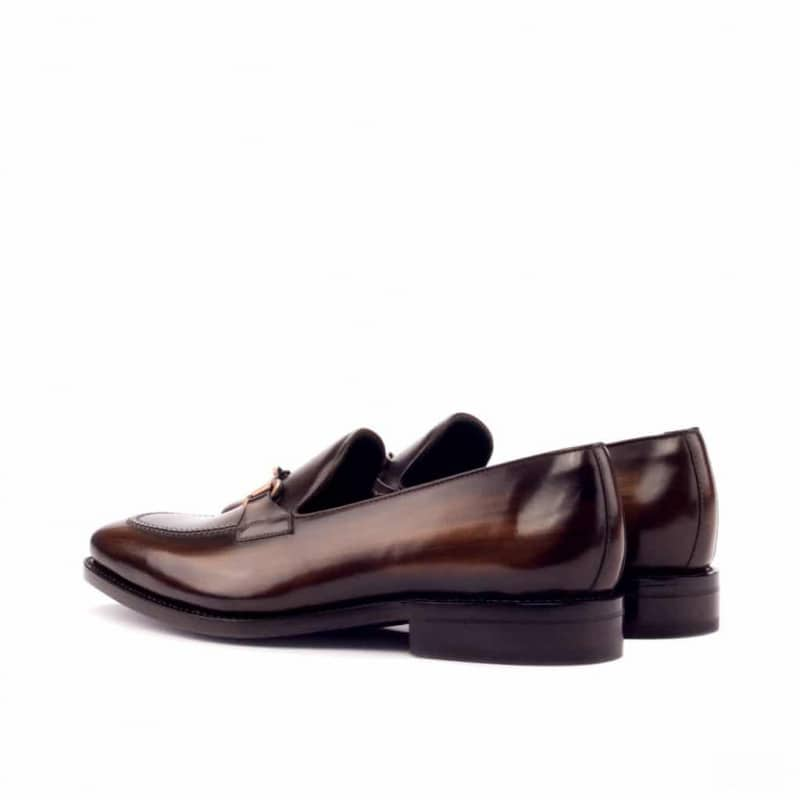 Custom Made Goodyear Welted Loafers in Italian Raw Crust Leather with a Brown Hand Patina