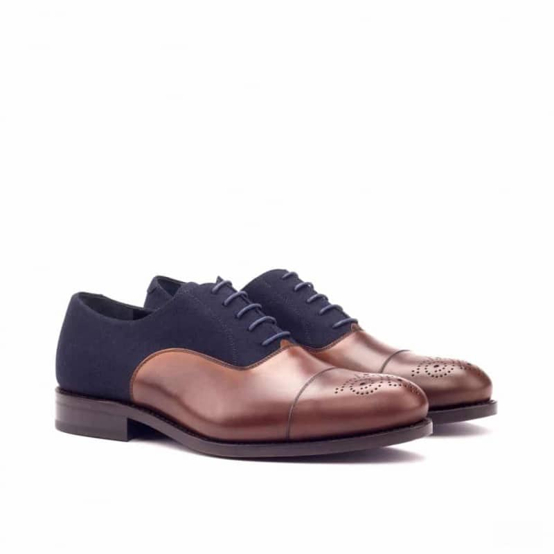 Custom Made Goodyear Welted Oxford in Medium Brown Painted Calf and Navy Blue Flannel