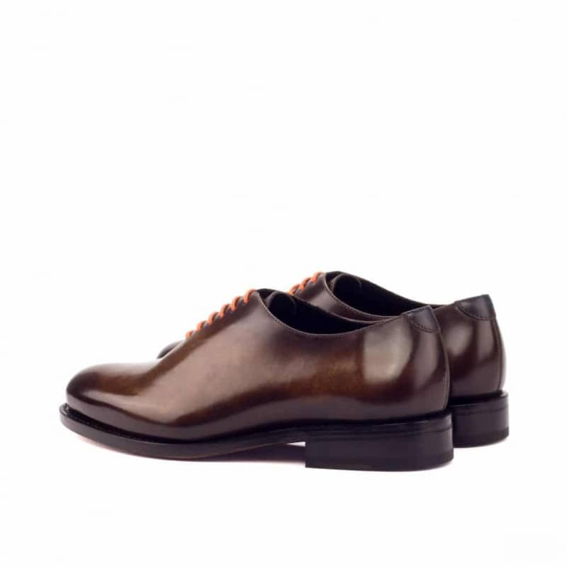 Custom Made Goodyear Welted Whole Cut Dress Shoes in Italian Raw Crust Leather with a Cognac and Denim Hand Patina