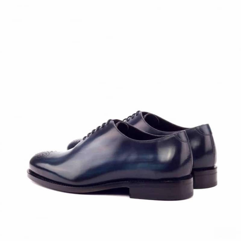 Custom Made Goodyear Welted Whole Cut Dress Shoes in Italian Raw Crust Leather with a Denim Hand Patina