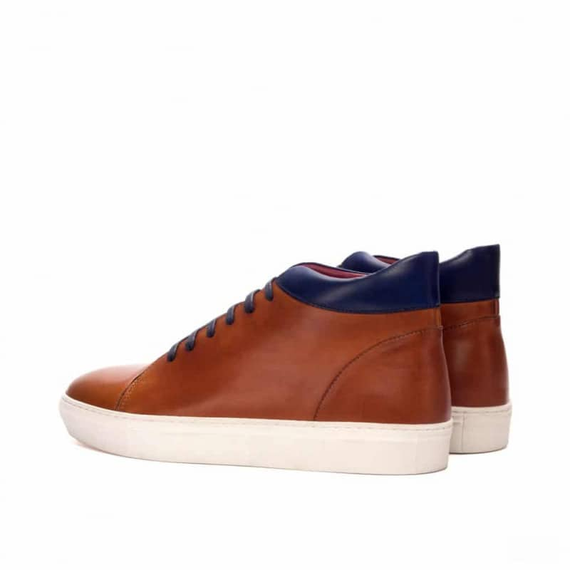 Custom Made High Top in Cognac and Navy Blue Painted Calf Leather