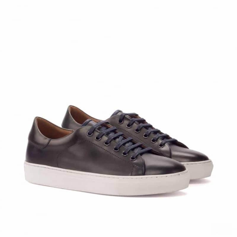 Custom Made Trainers in Navy Blue and Grey Painted Calf Leather