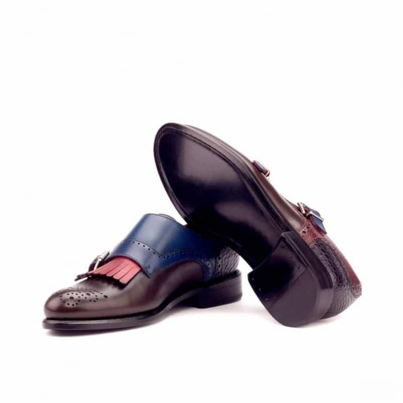 Custom Made Women's Kiltie Monkstrap in Painted Calf and Black Croco