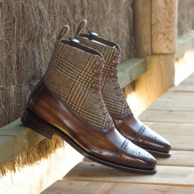 Custom Made Goodyear Welt Men's Balmoral Boot in Italian Calf Leather with a Brown Hand Patina and Wool Tweed