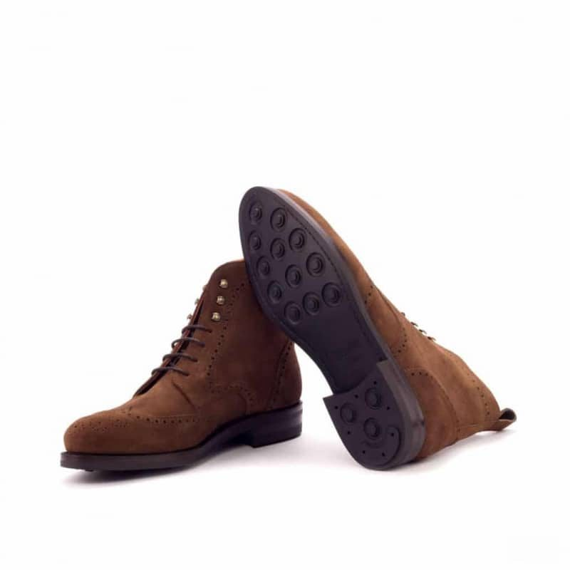 Custom Made Goodyear Welt Military Brogue Boot in Medium Brown Luxe Suede