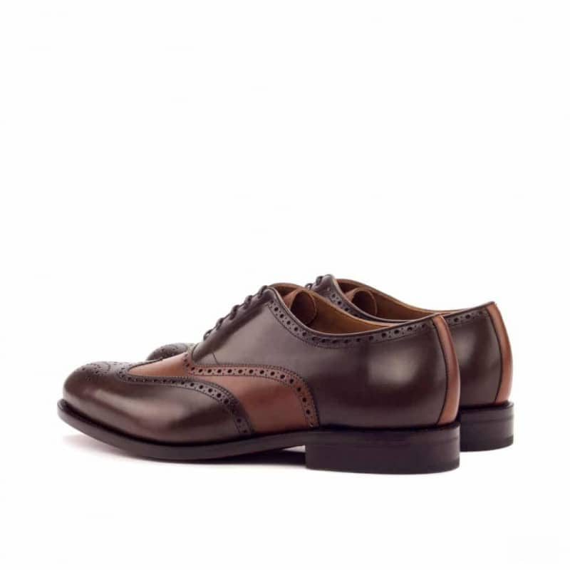 Custom Made Goodyear Welt Wingtips in Cognac and Dark Brown Painted Calf Leather