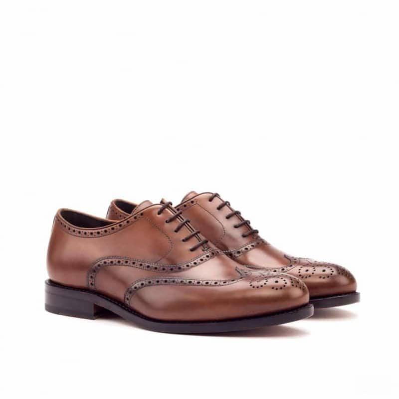 Custom Made Goodyear Welt Wingtips in Medium Brown Painted Calf Leather