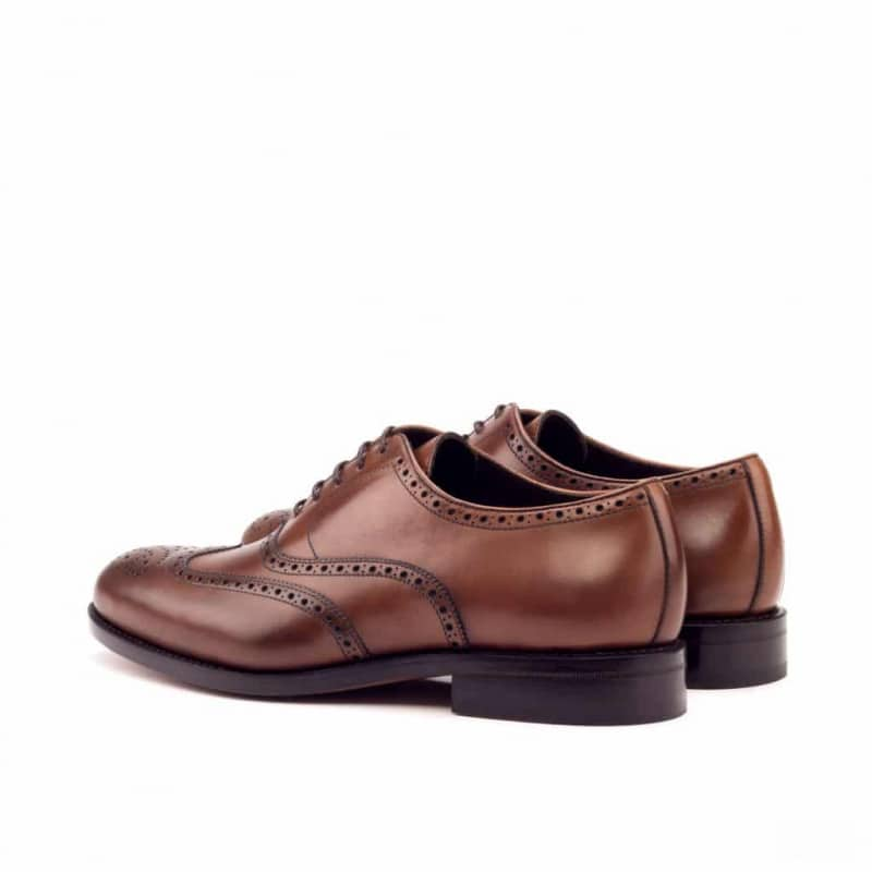 Custom Made Goodyear Welt Wingtips in Medium Brown Painted Calf Leather
