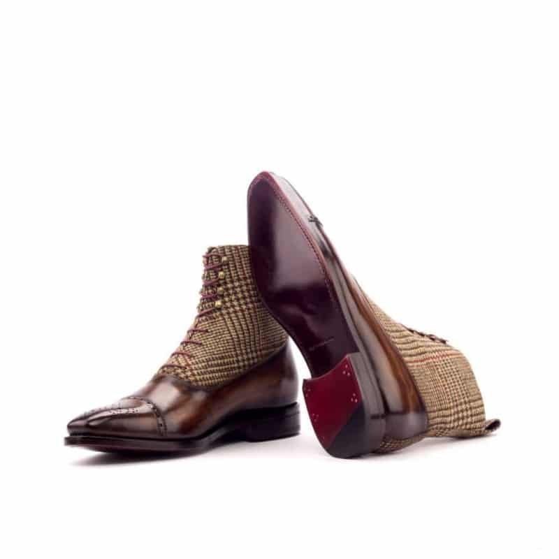 Custom Made Goodyear Welted Balmoral Boot in Raw Crust Italian Leather with a Brown Hand Patina and Wool Tweed
