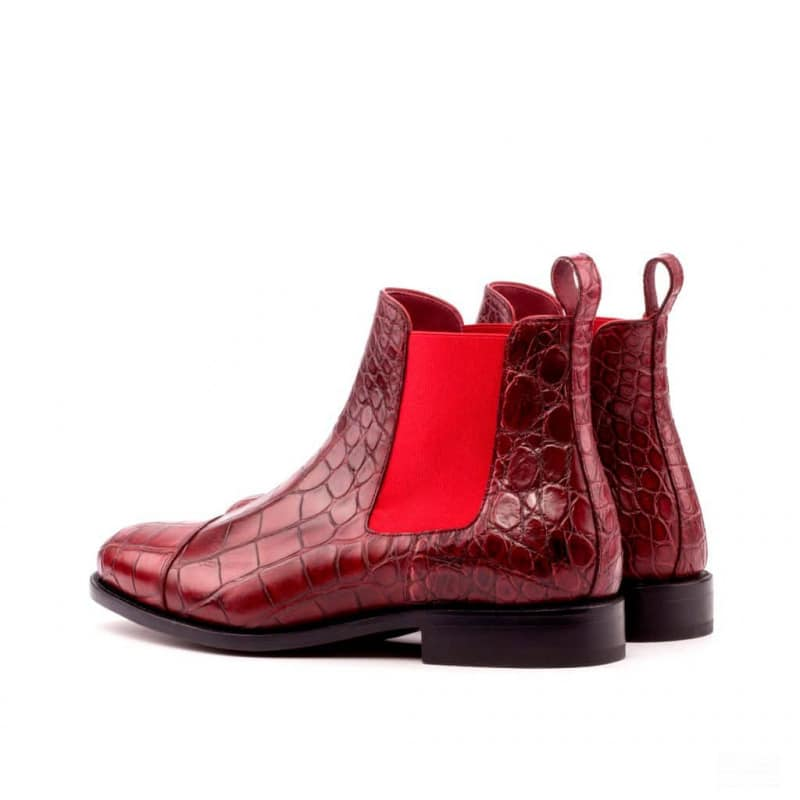 Custom Made Goodyear Welted Chelsea Boot Classic in Red Genuine Alligator