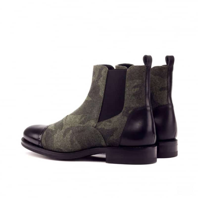 Custom Made Goodyear Welted Chelsea Boot Multi in Camo Flannel with Black Box Calf