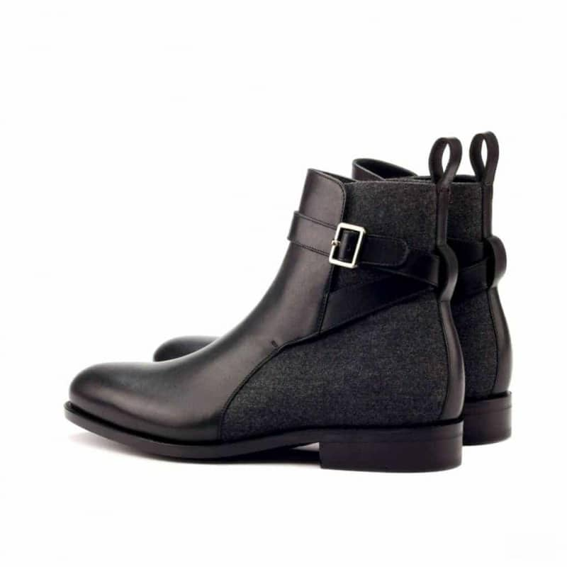 Custom Made Goodyear Welted Jodhpur Boot in Black Box Calf Leather with Dark Grey Flannel