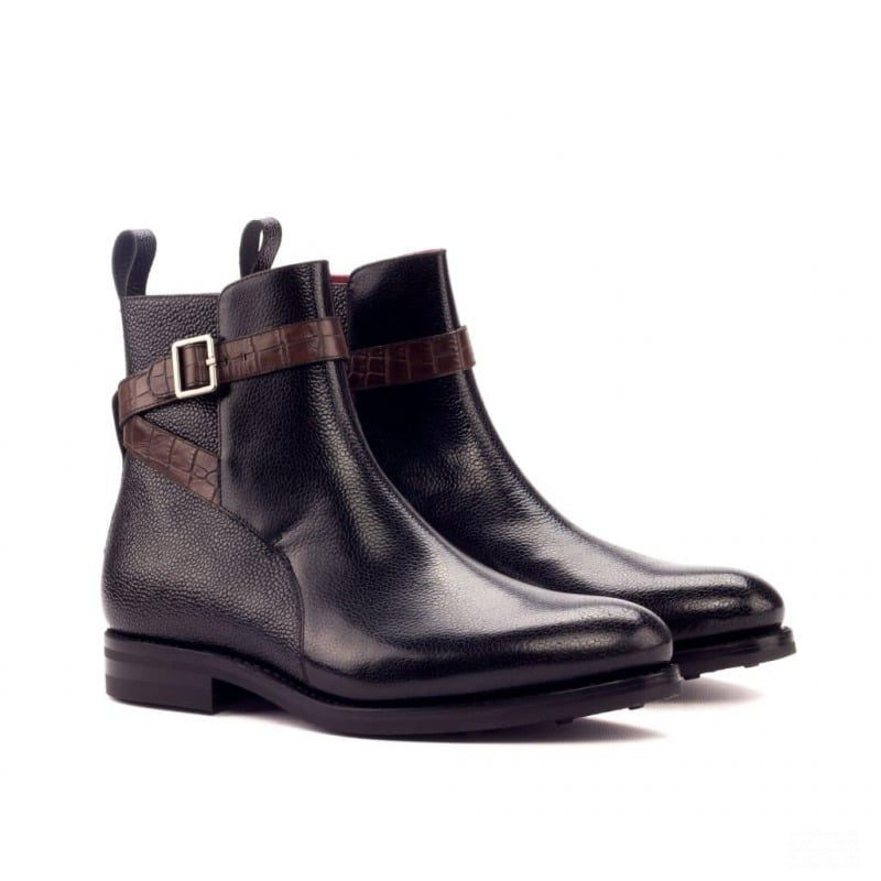 Custom Made Goodyear Welted Jodhpur Boot in Black Pebble Grain Leather with Brown Croco
