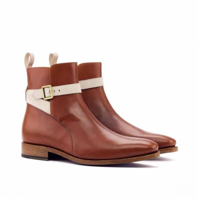 Custom Made Goodyear Welted Jodhpur Boot in Cognac Box Calf with Ivory Kid Suede