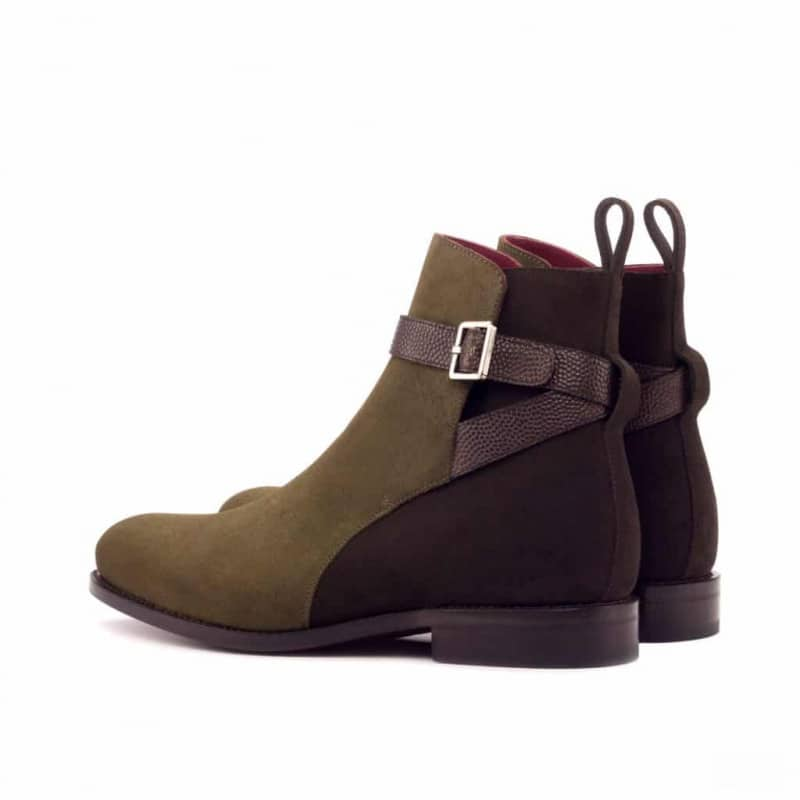 Custom Made Goodyear Welted Jodhpur Boot in Dark Brown and Khaki Luxe Suede with Dark Brown Pebble Grain