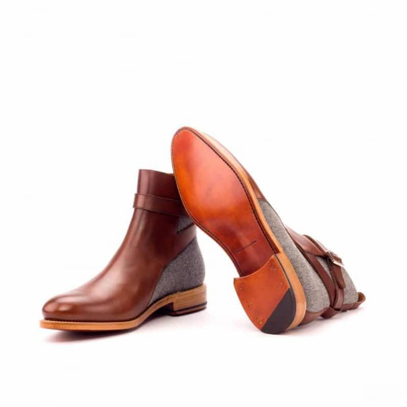 Custom Made Goodyear Welted Jodhpur Boot in Medium Brown Box Calf with Light Grey Flannel