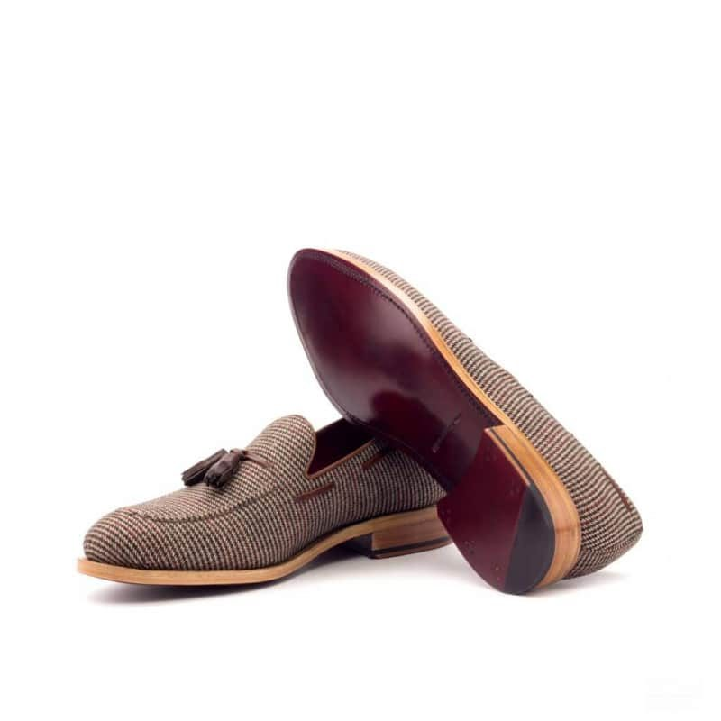 Custom Made Goodyear Welted Loafers in Medium Brown Box Calf with Tweed