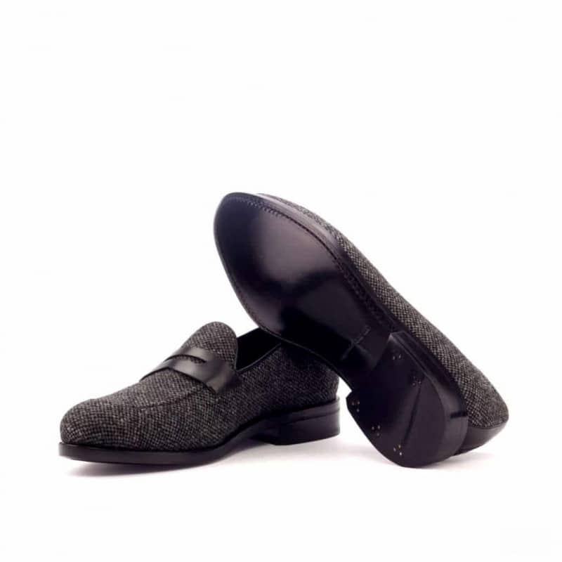 Custom Made Goodyear Welted Loafers in Nailhead Wool with Black Box Calf