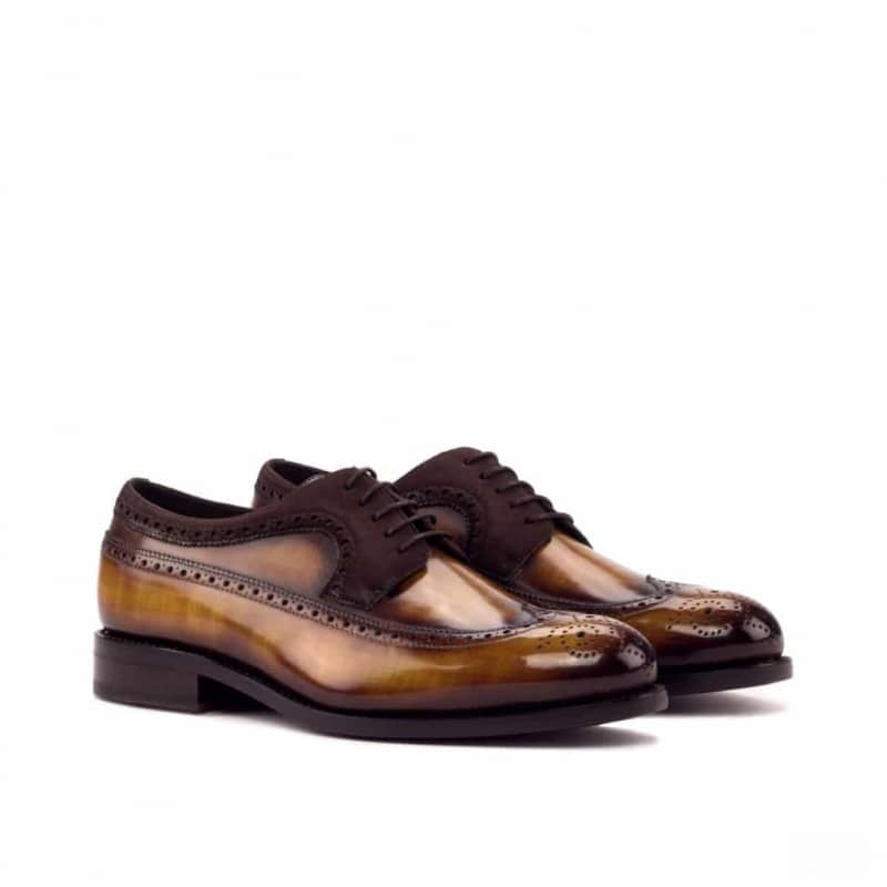 Custom Made Goodyear Welted Long Wingtip Blucher in Italian Raw Crust Leather with a Cognac Hand Patina with Brown Kid Suede