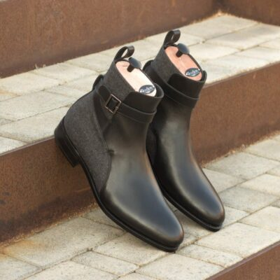 Custom Made Goodyear Welted Men's Jodhpur Boot in Black Box Calf Leather with Dark Grey Flannel