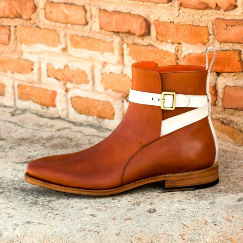 Custom Made Goodyear Welted Men's Jodhpur Boot in Cognac Box Calf with Ivory Kid Suede