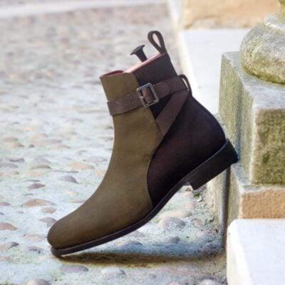 Custom Made Goodyear Welted Men's Jodhpur Boot in Dark Brown and Khaki Luxe Suede with Dark Brown Pebble Grain